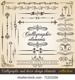 Calligraphic and decor design elements. Vector design corners, bars, swirls, frames and borders. Hand written retro feather symbols.