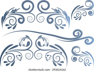 Calligraphic decorative elements with line