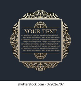 Calligraphic design element. Boutique brand, golden floral frame design template. Vector illustration