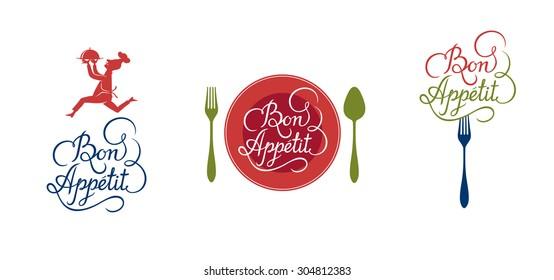"Calligraphic design elements. ""Bon appetit"" logo for restaurant."