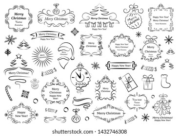 Calligraphic design elements for christmas. Decorative swirls or scrolls, vintage frames , flourishes, labels and dividers. Retro vector illustration.