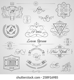Calligraphic design elements and classic vignette flourish ornament set isolated vector illustration