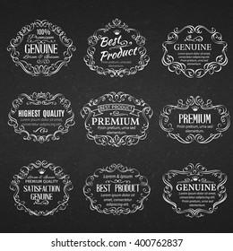 Calligraphic design elements . Decorative  scrolls frames labels in old style.  Vintage vector frame.