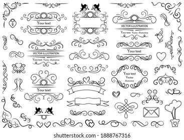 Calligraphic design elements . Decorative swirls and scrolls, vintage frames , flourishes, labels and dividers. Valentine's day special pack design elements. Retro vector illustration.