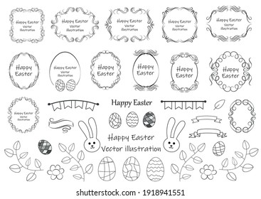 Calligraphic design elements . Decorative swirls and scrolls, vintage frames , flourishes, labels and dividers. Easter special pack design elements. Retro vector illustration.