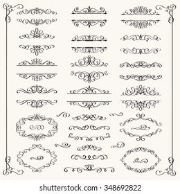 Calligraphic Design Elements . Decorative Swirls,Scrolls  and Dividers. Vintage Vector Illustration.