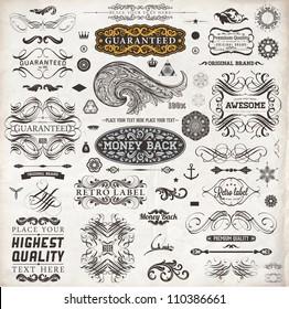 Calligraphic design elements, page decoration, retro labels and frames set for vintage design | Old paper grunge texture