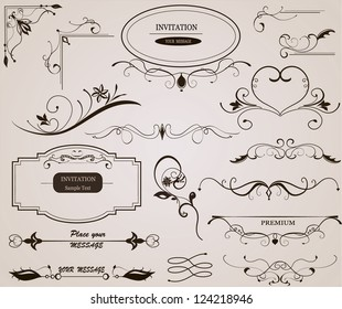 Calligraphic design elements and page decoration. Frame.Vector set.