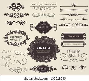 calligraphic design elements, page decoration and label premium quality/ vector set