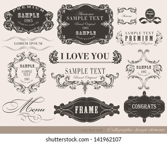 calligraphic design elements and page decoration/ vector set
