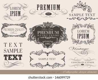 calligraphic design elements and page decoration/ vector set/ design illustration