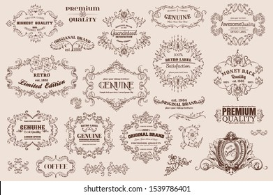 Calligraphic design elements  page decoration  Premium Quality and Satisfaction Guarantee Label  antique and baroque frames %7C Old paper texture with dirty footprints of a cup of coffee