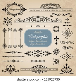 Calligraphic design elements and page decoration set 11