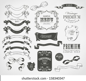 calligraphic design elements and page decoration/ Retro floral ornament and card/ vector set