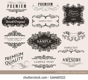 calligraphic design elements/ page decoration, guarantee Label, calligraphic frames