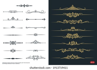 Calligraphic Design Elements of Page Dividers with Thai Ornament and Vintage Decoration of Vector and Illustration