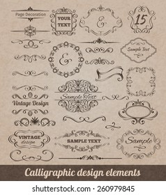 Calligraphic design elements set with card decoration scrolls and vignettes isolated vector illustration