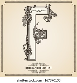 Calligraphic Design Font with Typographic Floral Elements for your Artworks. Nice for Page Decoration. Letter F