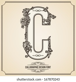 Calligraphic Design Font with Typographic Floral Elements for your Artworks. Nice for Page Decoration. Letter C