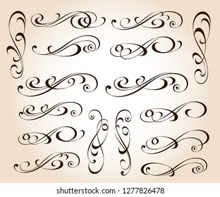 Calligraphic elegant elements of design.Vector illustration.