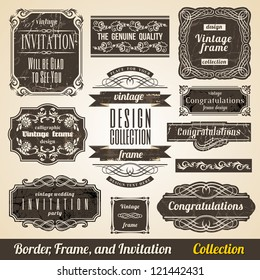 Calligraphic Element Border Corner Frame and Invitation Collection.