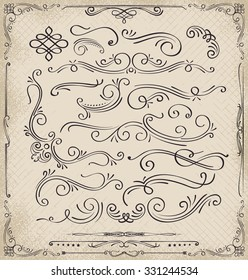 Calligraphic elements and page decoration. / Ornate elements and page dividers. / lots of useful elements to embellish your creative layout, greeting cards, invitations, books, brochures.