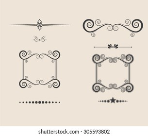 Calligraphic elements vintage decor