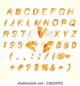 Calligraphic fire design alphabet stock vector illustration.