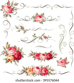 Calligraphic floral ornament with vintage roses for page decoration. Vector bouquet of blooming flowers
