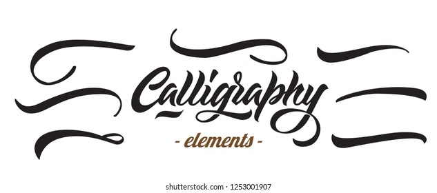 Calligraphic Florishes Collection. Lettering Elements and typography stroke