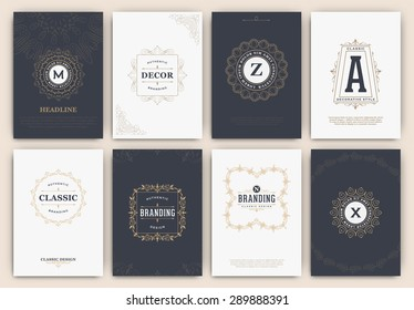 Calligraphic Flyer Design Template Set - Classic Ornamental Style. Elegant luxury frame with typography - Ideal logo for restaurant, hotel, cafe or other businesses with classic corporate identity