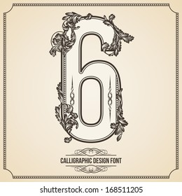 Calligraphic Font. Number 6. Vector Design Background. Swirl Style Illustration.