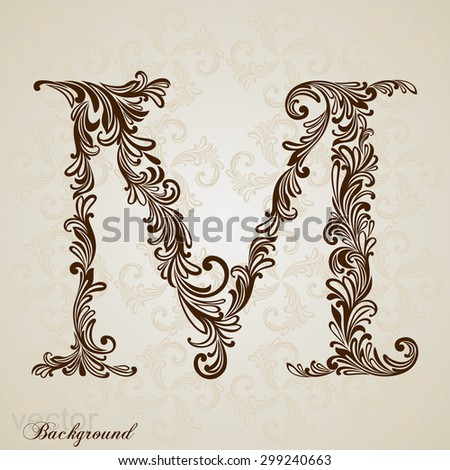 Calligraphic Font Vintage Initials Letter M Stock Vector Royalty