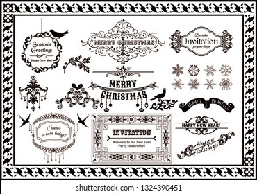calligraphic frame and decor vector