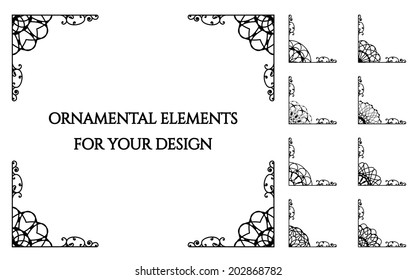 Calligraphic frame design elements. Vector set of page decorations