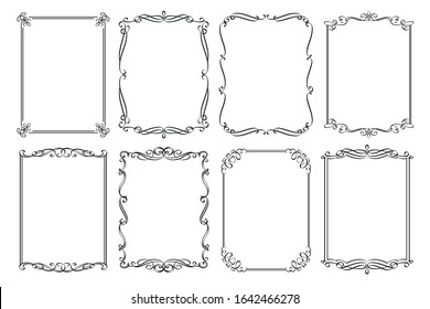 Calligraphic frames. Wedding ornamental rectangular set frame, flourishes ornate border, decorative typography page template card invitation, menu design, certificate decoration. Vector illustration.