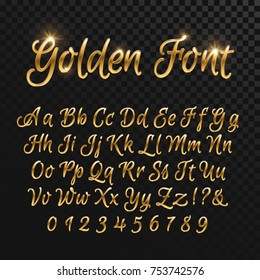 Calligraphic golden letters. Vintage elegant gold font. Luxury vector script. Golden alphabet calligraphic, calligraphy abc gold script illustration