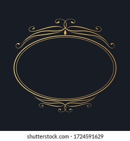 Calligraphic golden oval frame. Hand drawn antique vintage corner border.  Vector isolated classic wedding invitation card gold decor template.