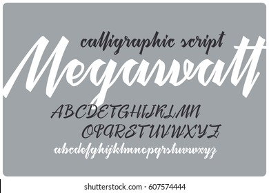 """Calligraphic handwritten font named """"Megawatt"""" with connected letters."""