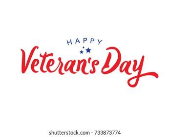 Calligraphic Happy Veteran's Day Vector Typography