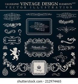 Calligraphic heraldic decor elements. Vector vintage frameworks black