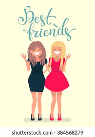 Calligraphic inscription best friends. Cheerful girl student together. Female friendship. Vector illustration of a flat design