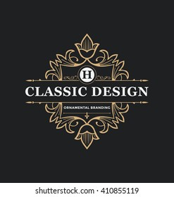 Calligraphic Label Design Template - Classic Ornamental Style. Elegant luxury frame with typography - Ideal logo for restaurant, hotel, cafe and other businesses with classic corporate identity visual