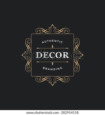calligraphic label design template classic ornamental stock vector