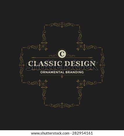 Calligraphic Label Design Template Classic Ornamental Stock Vector ...