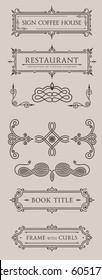 Calligraphic labels set. Vector baroque frames. Vintage design elements and page decoration