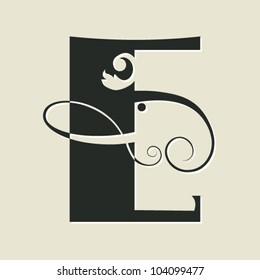 calligraphic letter E
