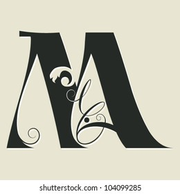 calligraphic letter M