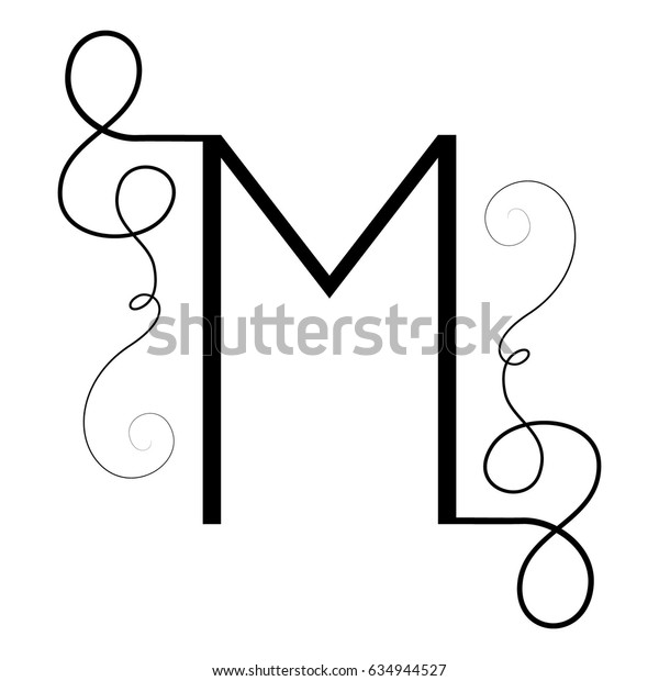 Calligraphic letter M with flourishes of decorative whorls. capital design letter with swirl elements for your artwork