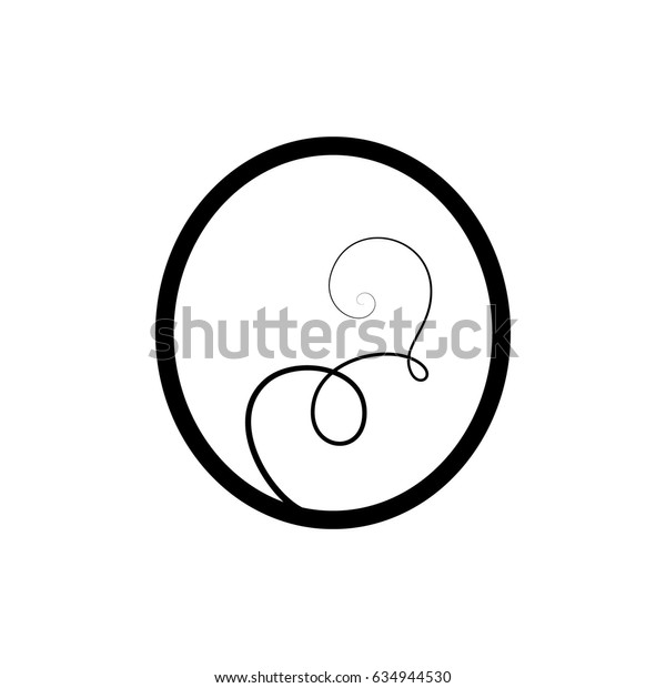 Calligraphic letter O with flourishes of decorative whorls. capital design letter with swirl elements for your artwork